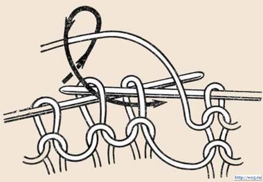 Привязывание двух петель вместе изнаночной