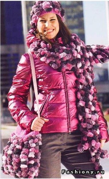 Шапочка, ажурный шарф и сумка-портфель