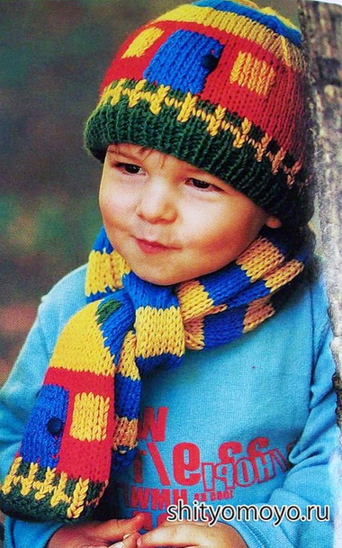 Шапочка и шарф для мальчика 5—б лет