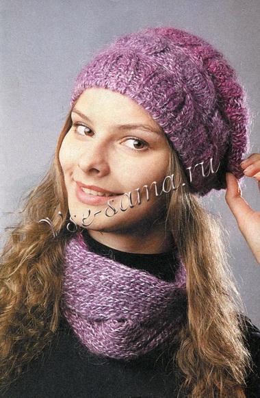Меланжевая шапочка с шарфиком