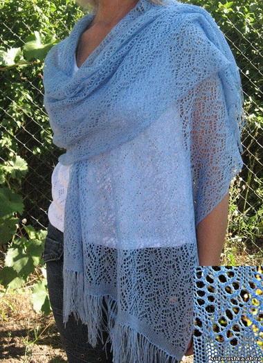 Ажурные шаль, шарф-палантин, сумочка и косметичка