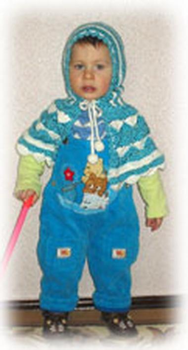 Капор и пелеринка для девочки 1—2 лет