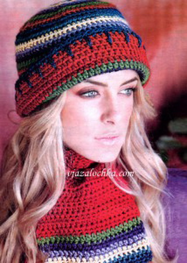 Шапочка с отворотом, шарф и варежки