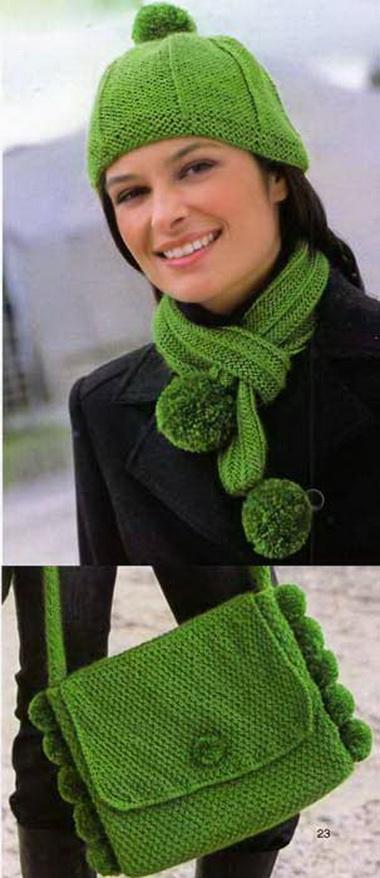 Шапочка, шарф и сумка