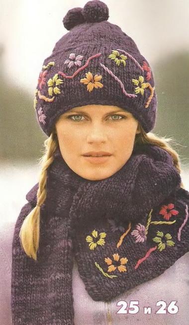 Шапочка и шарф с вышивкой