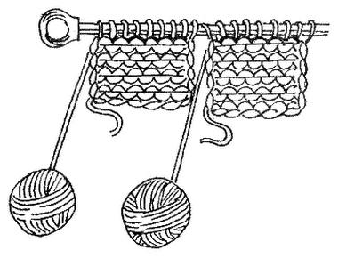Вязание от двух клубков